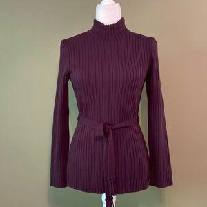 Nina Leonard NWOT Turtle neck sweater w/ belt S
